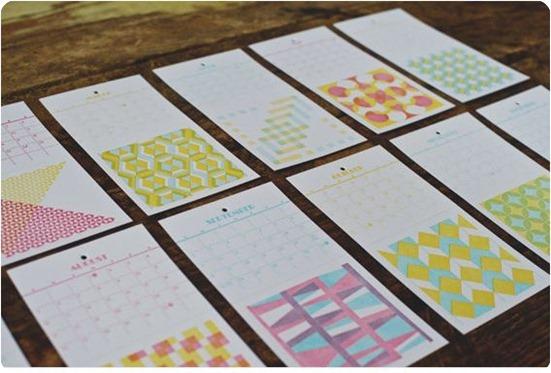 quilt pattern letterpress calendar