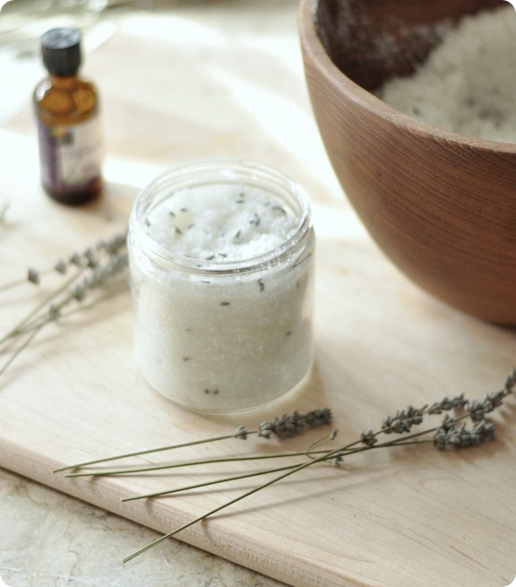 spoon lavender scrub into jar