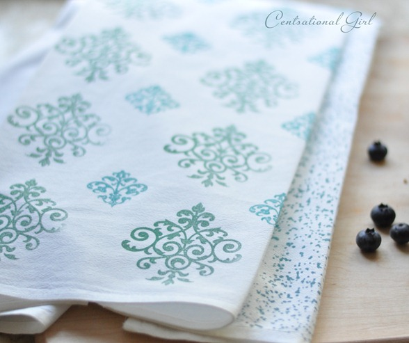 stamped tea towels