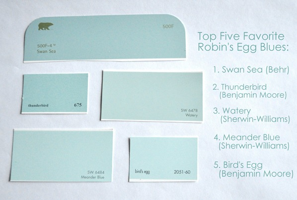 top five robins egg blue paint colors