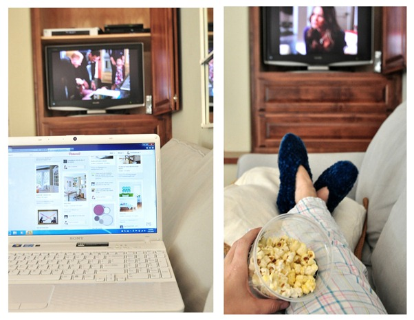laptop and popcorn