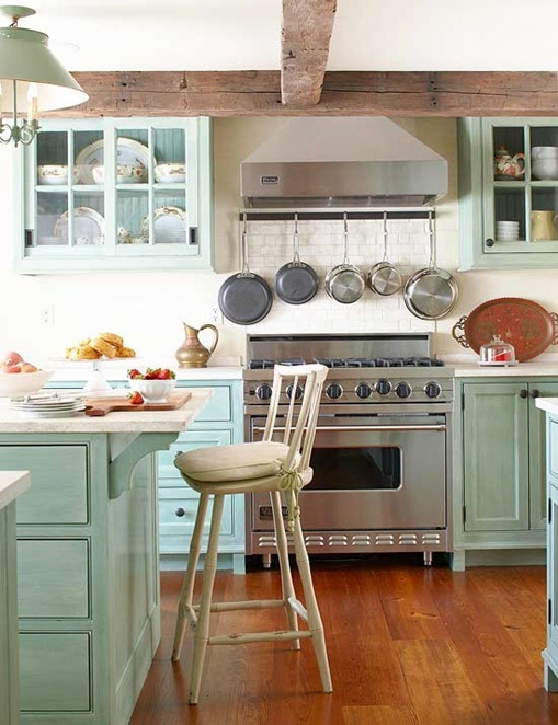 pale sea green cabinets bhg
