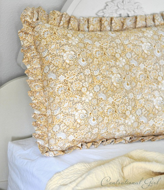 pleated pillow sham on bed cg