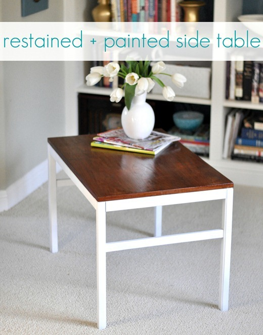 restained and repainted side table label