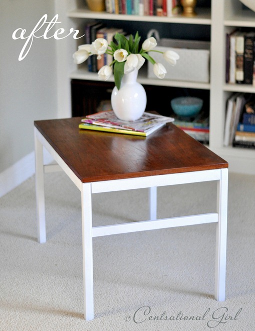 stained repainted side table cg