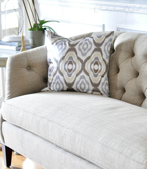 tufted sofa and ikat pillow cg
