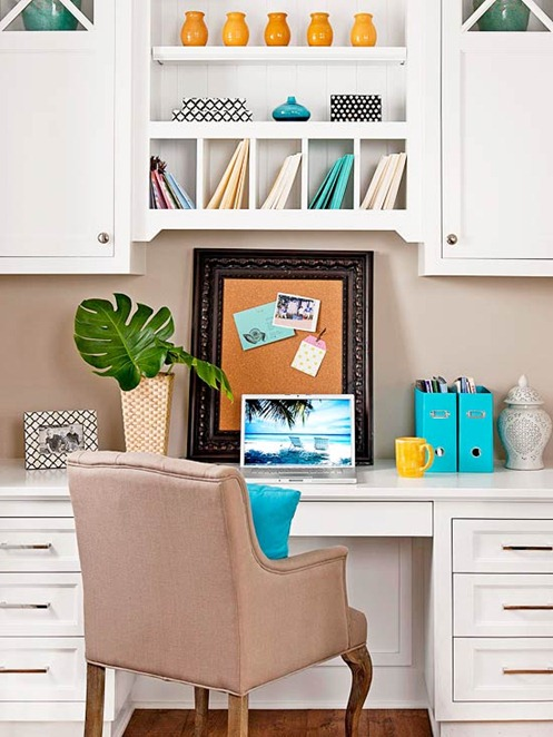 white kitchen office space bhg