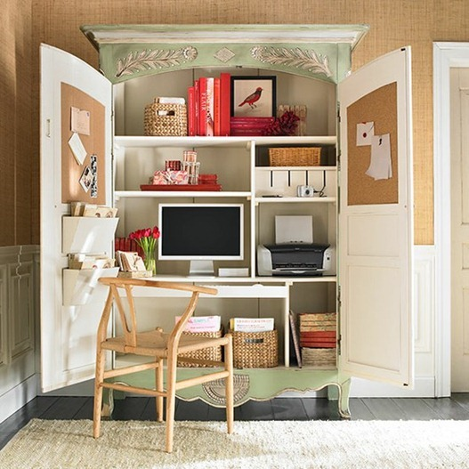 living room computer desk. wisteria armoire Small Space Solutions  Home Offices Centsational Style