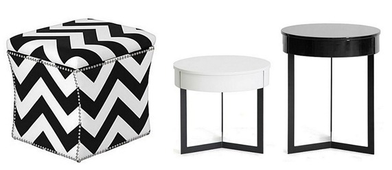 black and white endtables ottoman