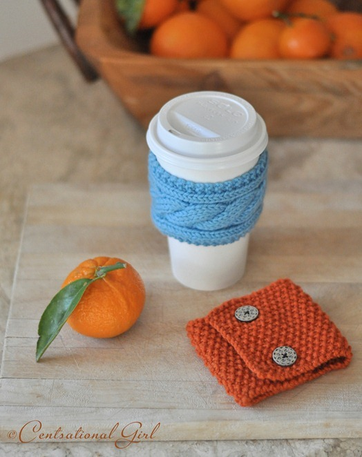 blue and orange coffee cozies