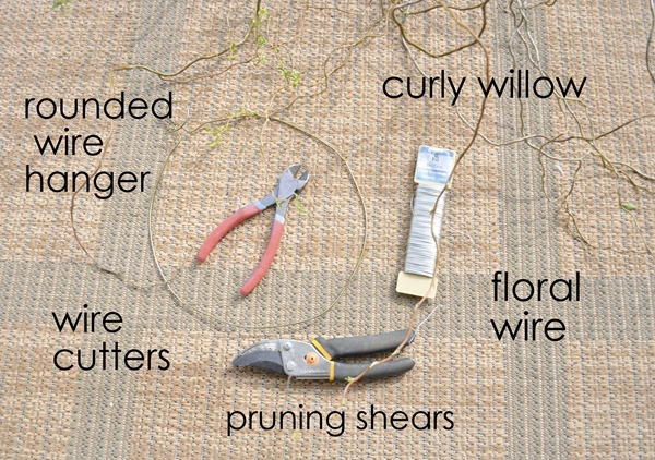 curly willow wreath supplies