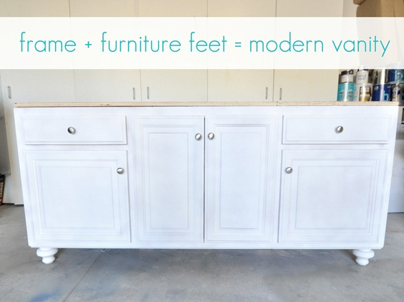 frame and furniture feet vanity