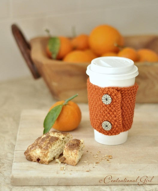 orange coffee cozy