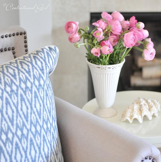 pink ranunculus ikat pillow cg