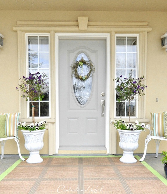 spring front porch urns
