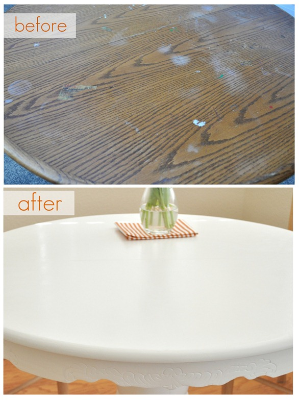tabletop before and after
