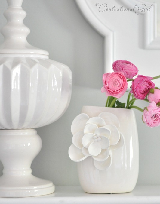 white clay petal vase cg