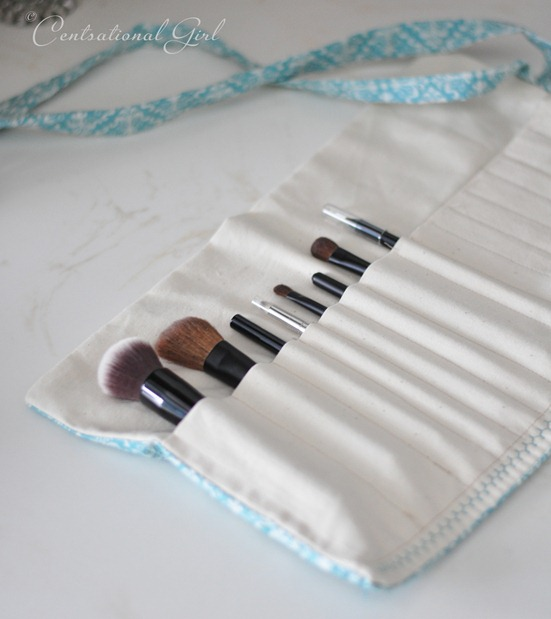 You can fold up the makeup brush kit in a roll and tie it closed with ...