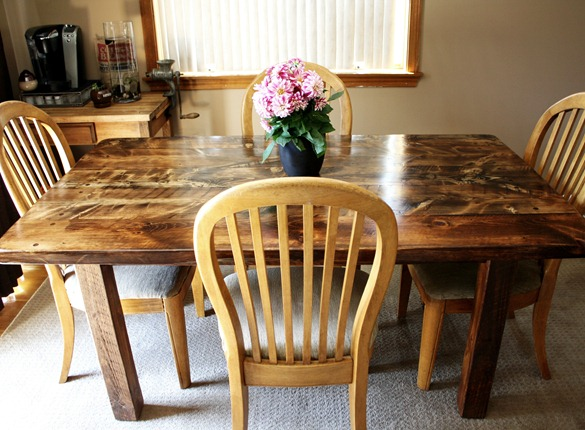 reclaimed wood farm table in dining room