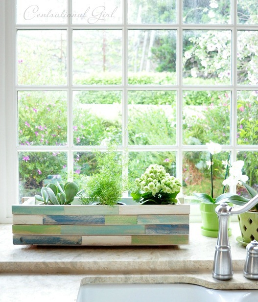 Kitchen Window Herb Planter: Wood Shim Window Box Planter