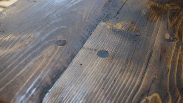 stained reclaimed table detail
