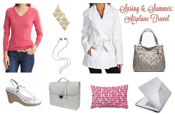 airplane travel outfit spring summer