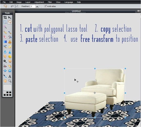 cut with polyagonal tool copy paste free transform