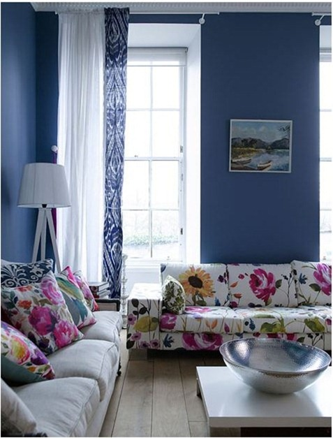floral sofa blue walls design sponge