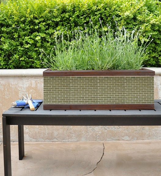 green glass mosaic tile planter