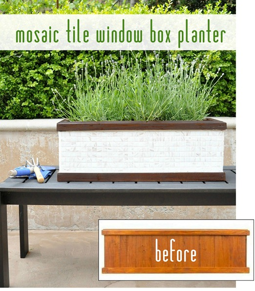 mosaic tile window box planter before and after
