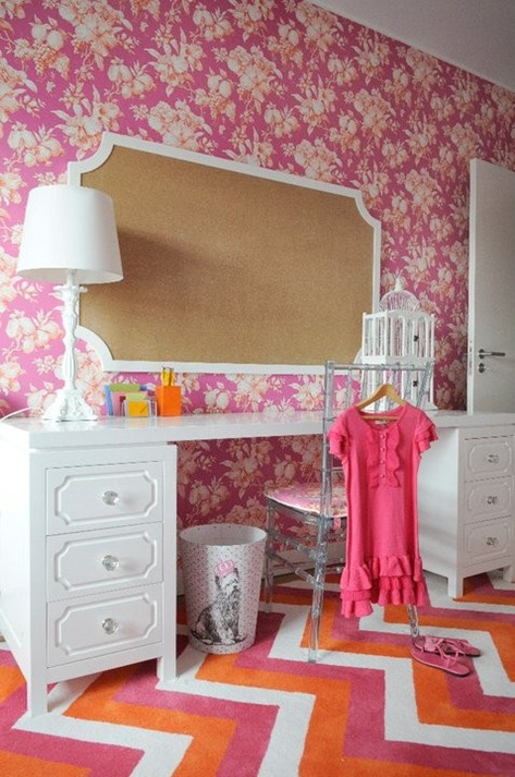 pink and orange girls room