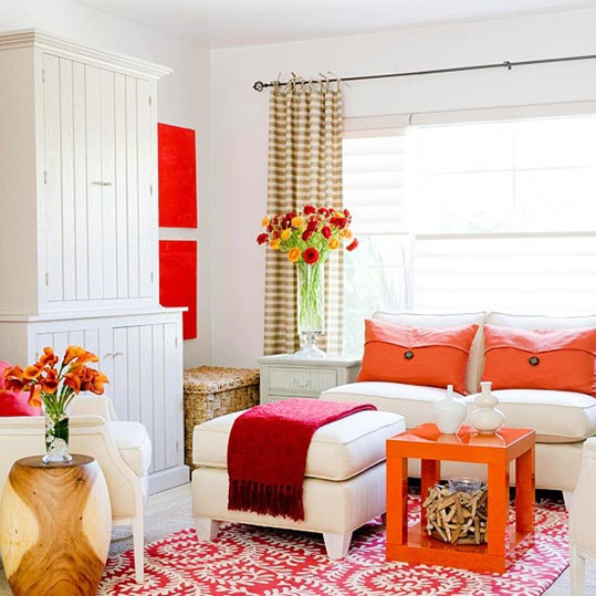 pink orange living room bhg