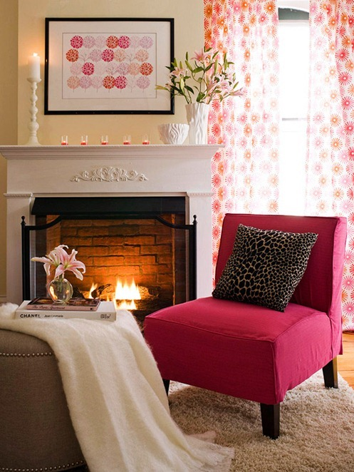 pink orange sitting room bhg