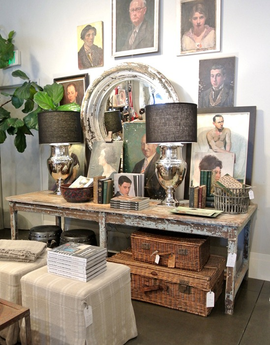 portraits and rustic furnishings