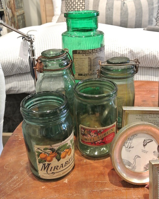vintage labels on green glass jars