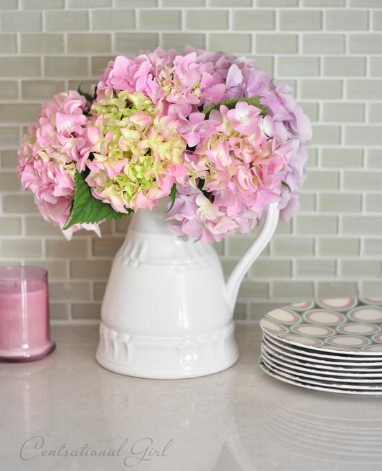 pink hydrangeas in vase cg