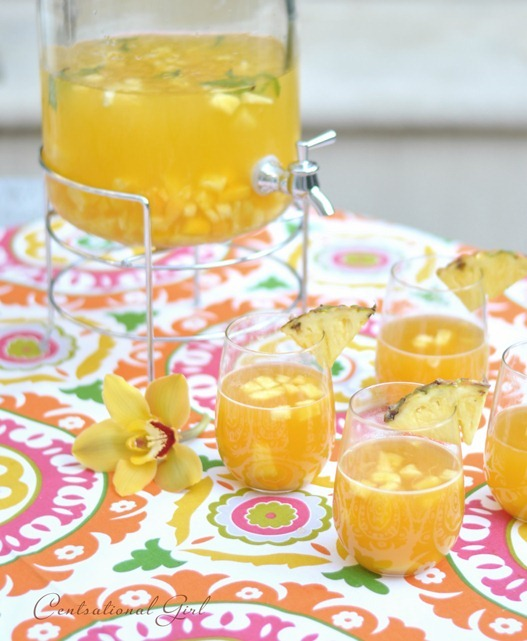 tropical summer sangria with garnish