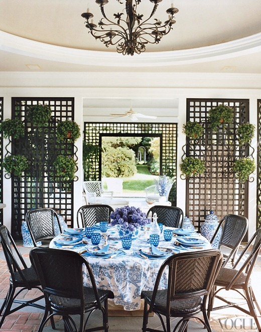 blue tablescape vogue tori burch