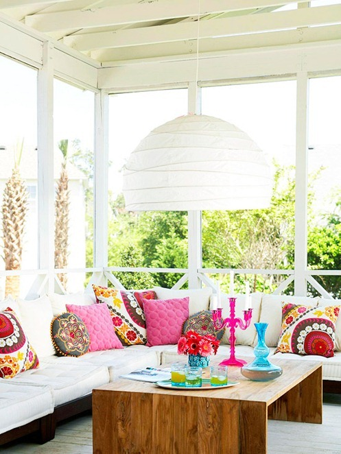 bright colored covered porch bhg