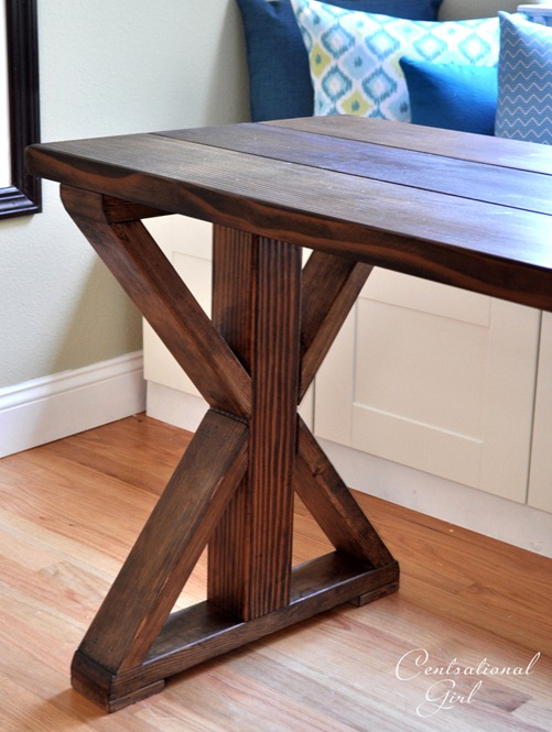 X base table start to finish centsational girl for Cross leg table plans