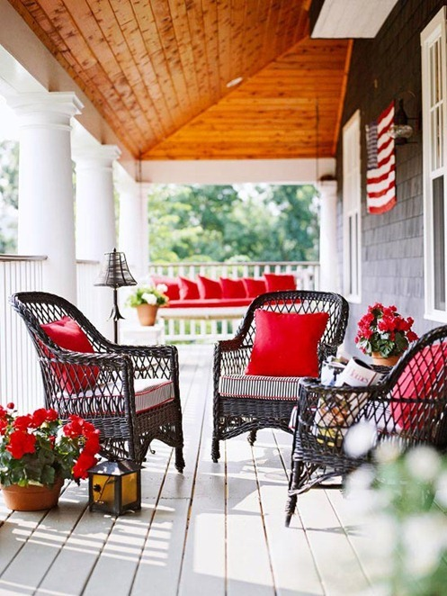 red pillows on porch bhg