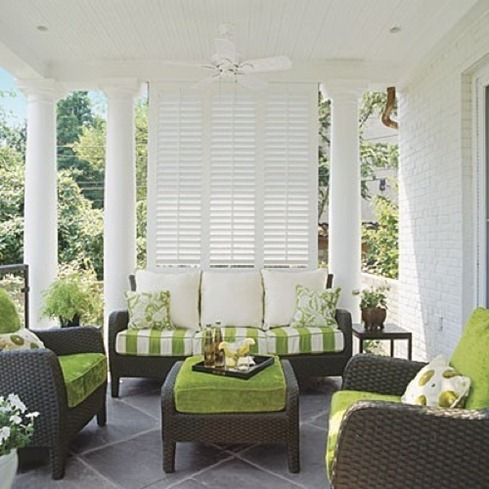 southern living green porch accents