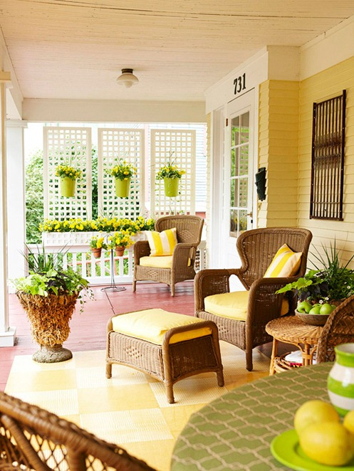 sunny yellow porch accents bhg