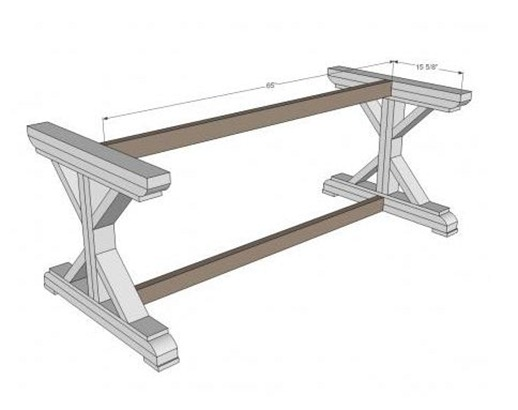 Our starting point was discovering these X base farmhouse table plans ...