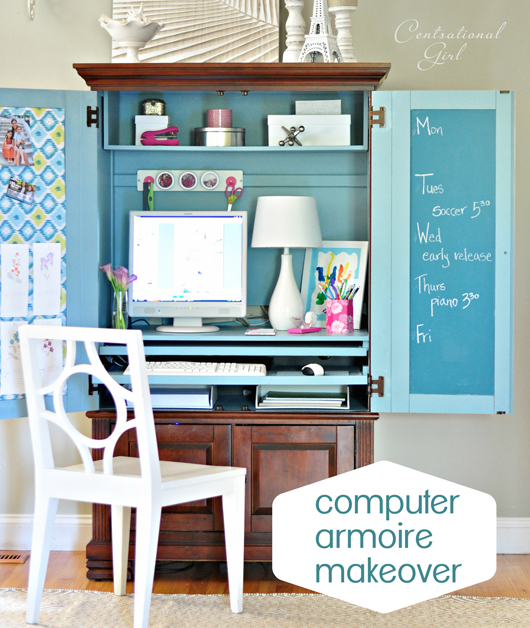 Computer Armoire Makeover Centsational Girl