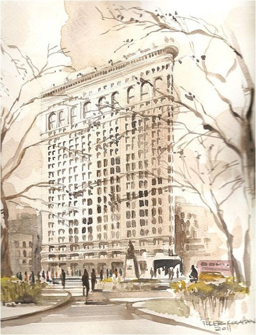 flatiron nyc watercolor