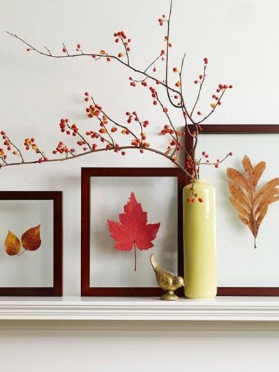 framed fall leaves