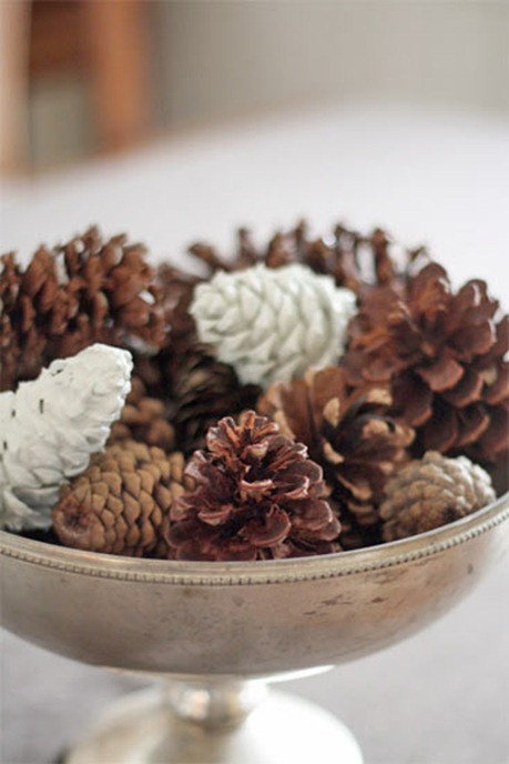 pine cones in silver urn