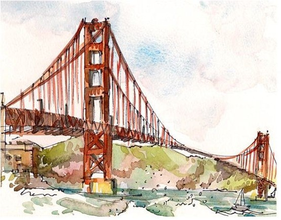 san francisco watercolor sketch