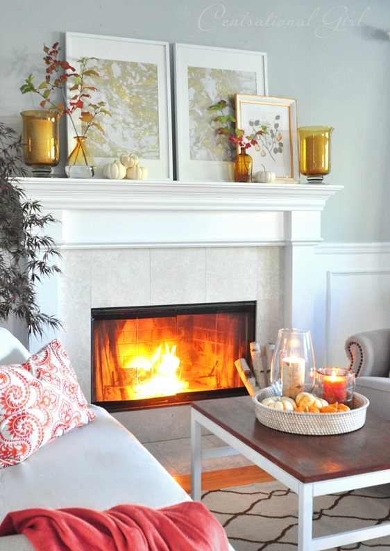 autumn mantel and framed marbled paper